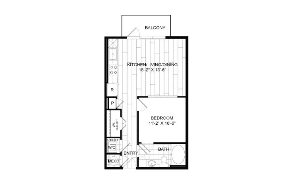 A1 - 1 bedroom floorplan layout with 1 bath and 604 to 607 square feet.