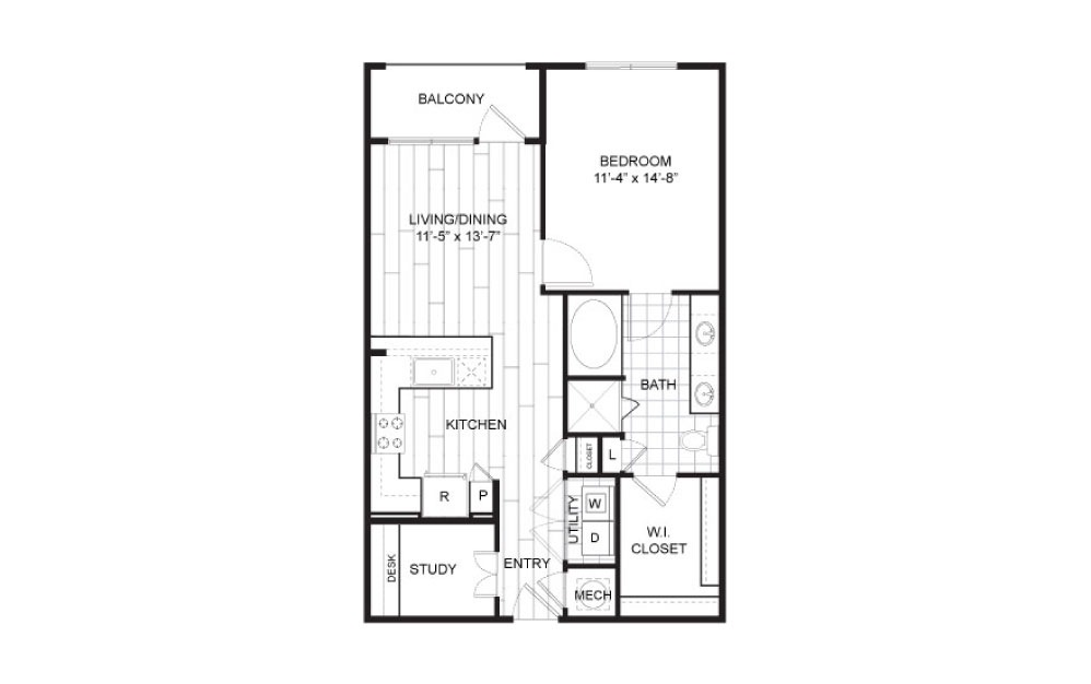 A10 - 1 bedroom floorplan layout with 1 bath and 791 to 832 square feet.