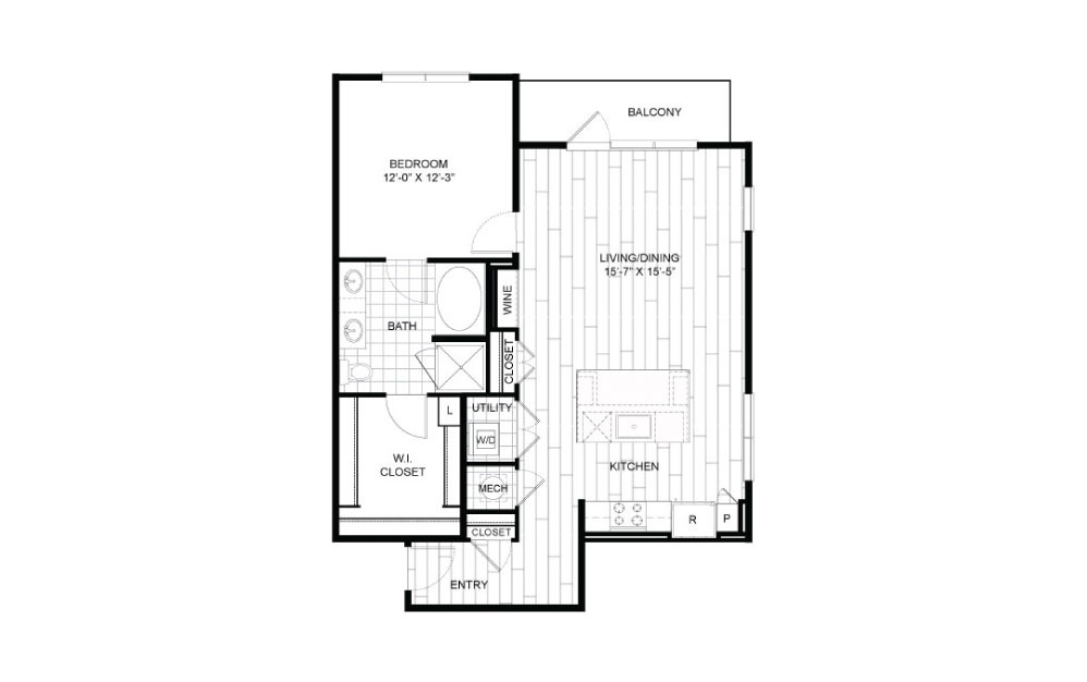A13 - 1 bedroom floorplan layout with 1 bath and 923 square feet.