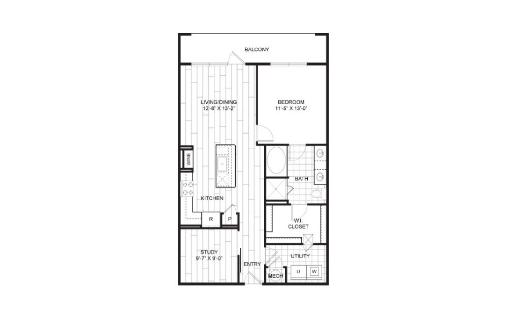 A14.1 - 1 bedroom floorplan layout with 1 bath and 930 square feet.