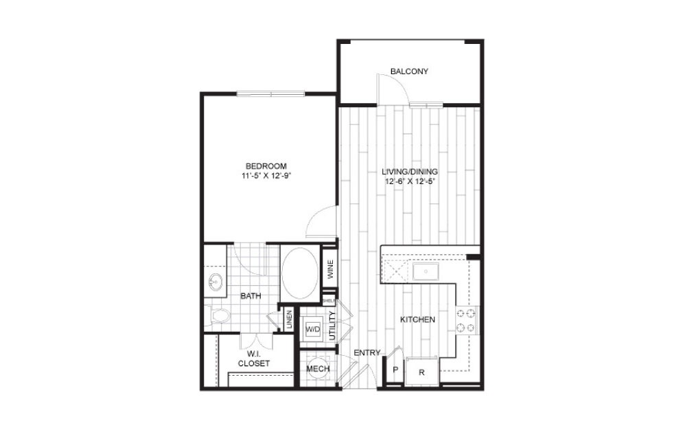 A2 - 1 bedroom floorplan layout with 1 bath and 644 square feet.