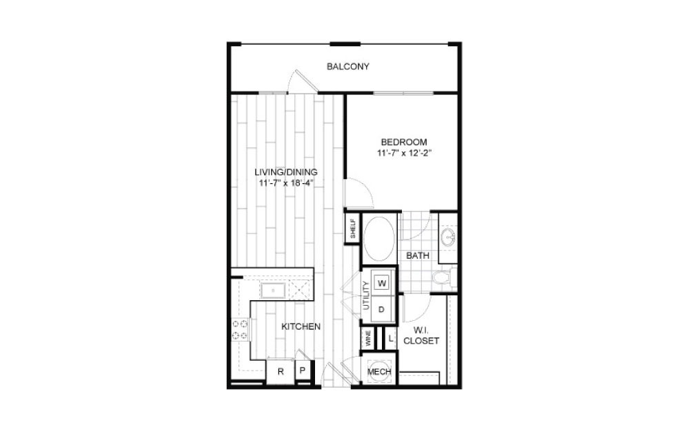 A4 - 1 bedroom floorplan layout with 1 bath and 729 square feet.