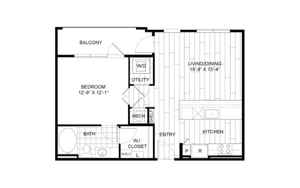 A5 - 1 bedroom floorplan layout with 1 bath and 721 square feet.