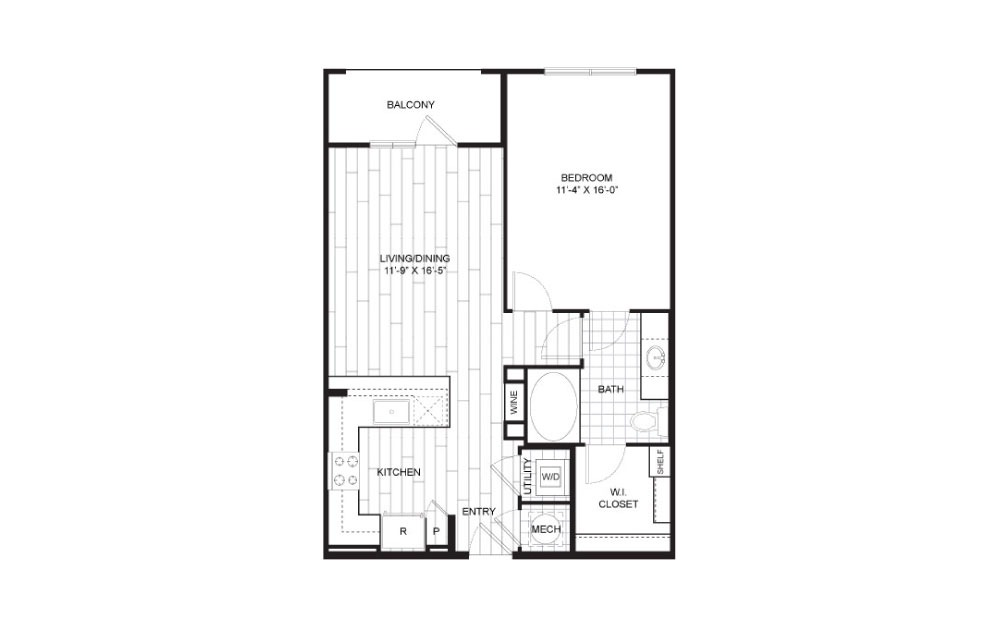 A6 - 1 bedroom floorplan layout with 1 bath and 723 to 744 square feet.
