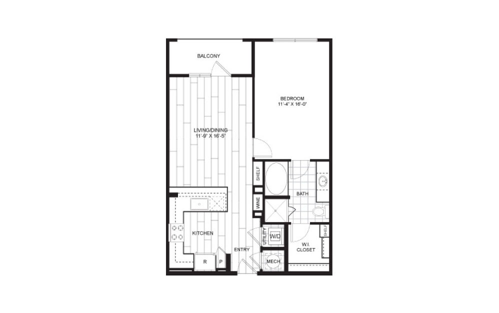 A6.2 - 1 bedroom floorplan layout with 1 bath and 723 to 744 square feet.