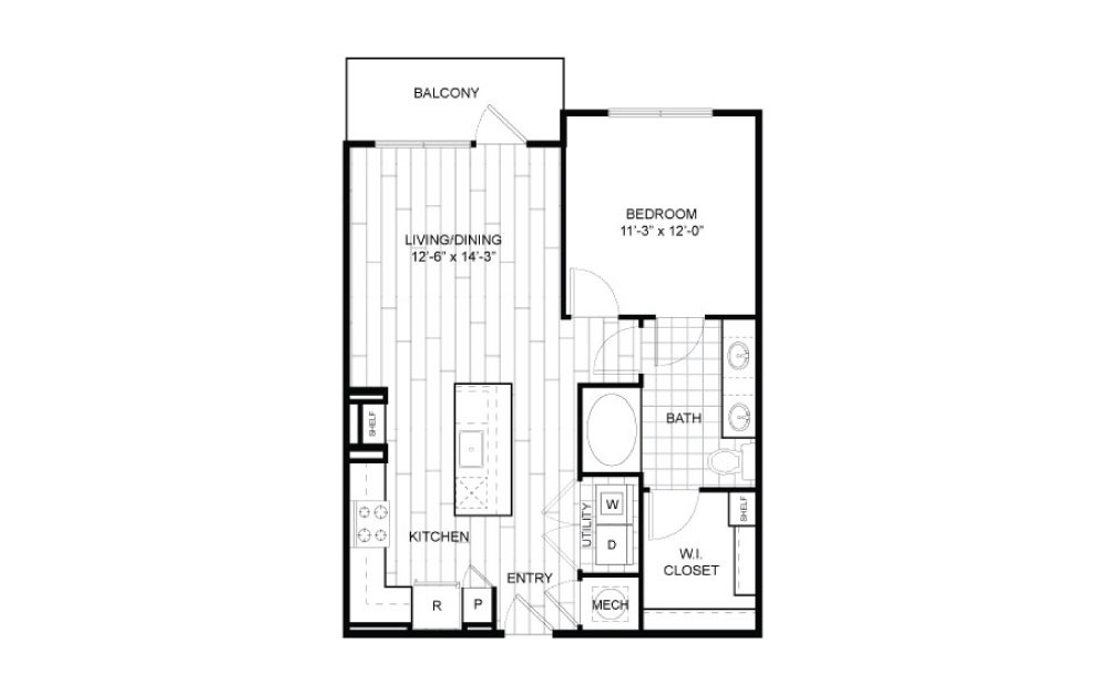 A7.1 - 1 bedroom floorplan layout with 1 bath and 766 to 776 square feet.