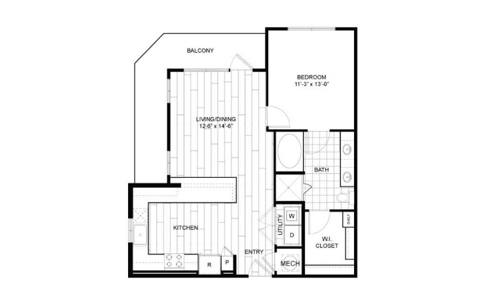 A7.5 - 1 bedroom floorplan layout with 1 bath and 797 to 808 square feet.