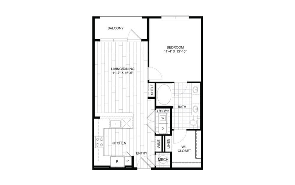 A8.1 - 1 bedroom floorplan layout with 1 bath and 744 square feet.