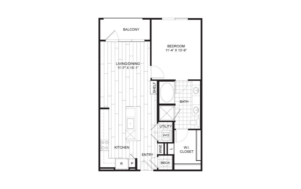 A9 - 1 bedroom floorplan layout with 1 bath and 789 square feet.