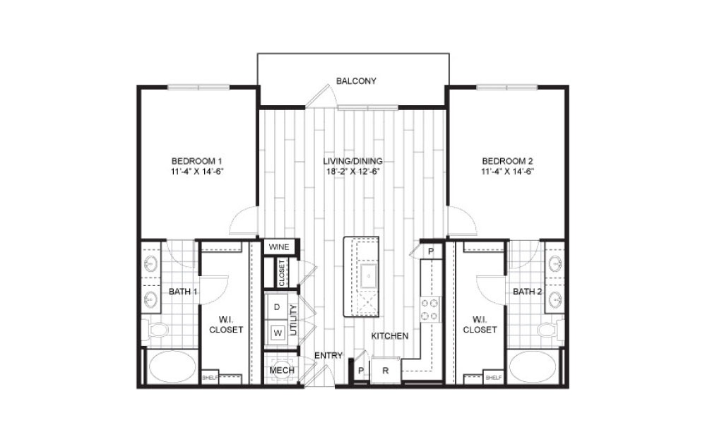 B1 - 2 bedroom floorplan layout with 2 baths and 1187 square feet.