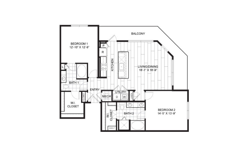 B4 - 2 bedroom floorplan layout with 2 baths and 1288 to 1301 square feet.